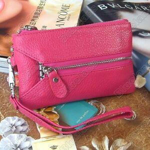 Genuine-Leather-Clutch-Evening-Mobile-Phone-Wristlet-Bag-Wallet-Purse-Key-Chain