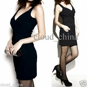 Women-Deep-V-neck-Cross-Drape-Backless-Mini-Dress-Black