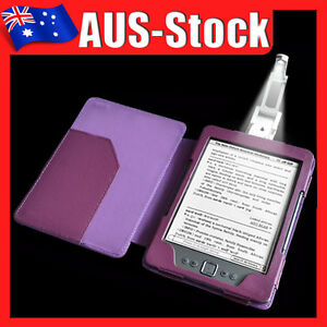 Purple Leather Case Cover with Light for Amazon Kindle 4 4th Wifi Generation