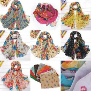 Fashion-Women-Voile-Scarf-Wraps-Shawl-Stole-Soft-Scarve-Flower-7color-ST003