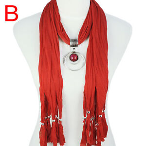 Fashion-New-Red-Vintage-Jewelry-Necklace-Scarf-with-Resin-Pendant-NL-1622