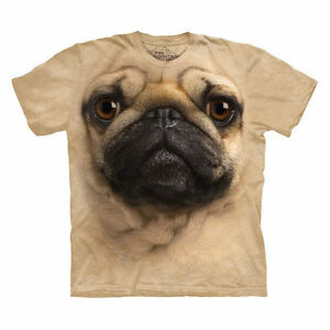 PUG-FACE-DOG-PET-LOVER-TIE-DYED-TAN-COLORED-T-SHIRT-by-THE-MOUNTAIN-CORP