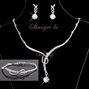 18K-White-GOLD-GP-Wedding-Bridal-4pcs-NECKLACE-SET-Swarovski-CRYSTAL-10431