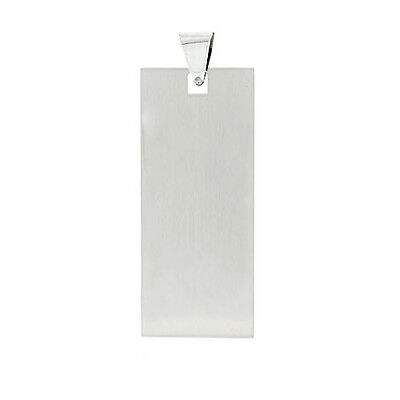 Square Edges Italian Sterling Silver Military Dog Tag Pendant