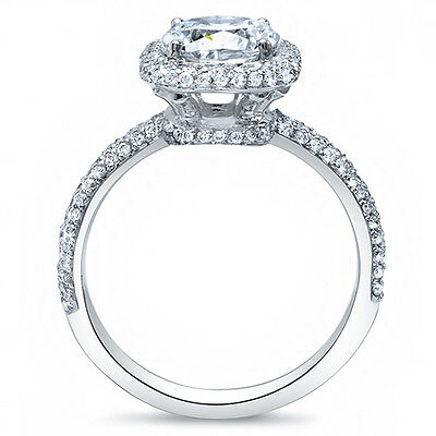 1.75 Ct. Radiant Cut Micro Pave Halo Round Diamond 14K Engagement Ring D,VS1 GIA 1