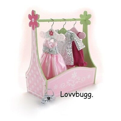 "Lovvbugg Mini Dress Clothes Rack n Tote Box for 18"" American Girl Doll Clothes Storage Accessory"