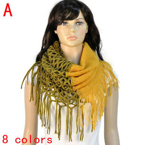 Women Winter Fashion Thick Warm Neck Warmer Scarf with Long  Fringe, NL-1929