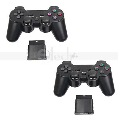 Lot 2 Wireless Shock Game Controller for Sony Playstation 2 PS2 Black on Rummage