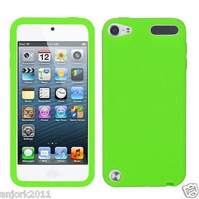 Apple Ipod Touch 5 Soft Silicone Skin Rubber Gel Cover Case Accessory Green