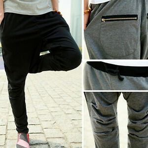 Mens-Casual-Rop-sports-pants-Zipper-Harem-trousers-pants-training-baggy-pants