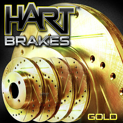 [front + Rear Kit] Gold Hart Drilled & Slotted Disc Brake Rotors C1769