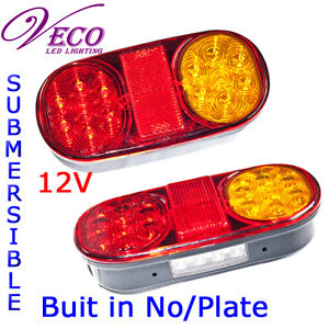 LED-TAIL-LIGHTS-TRAILER-BOAT-UTE-JET-SKI-PARTS-SUBMERSIBLE-No-PLATE12V-x-2