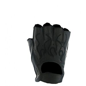 Mens-Black-Flame-Leather-Fingerless-Motorcycle-Gloves-Gel-pad-Biker-S-2XL