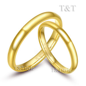 T-T-3mm-14K-Gold-GP-316L-Stainless-Steel-Wedding-Band-Ring-Gold-For-Couple