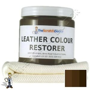 DARK BROWN Leather Dye Colour Restorer For Faded And Worn Leather Sofa Etc