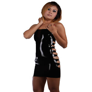 100-Sexy-Latex-Rubber-Gummi-Fetish-Dress-Side-Openings-Long-Skirt-one-size