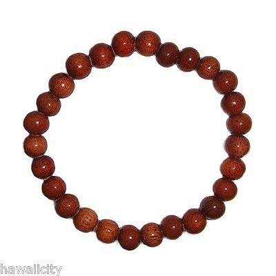 Hawaiian Dark Koa Wood 8mm Elastic Bead Bracelet