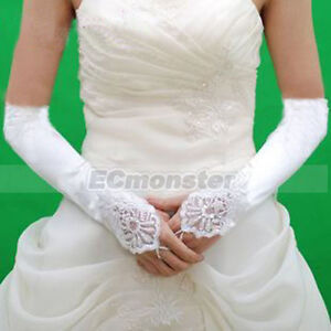 12-White-Satin-Lace-Bridal-Wedding-Dress-Fingerless-Gloves
