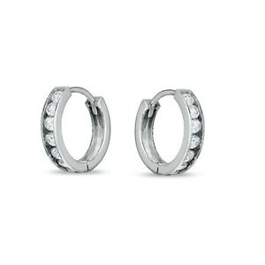 mens white gold hoop earrings 14k white gold cz small huggie hoop continuous 7629