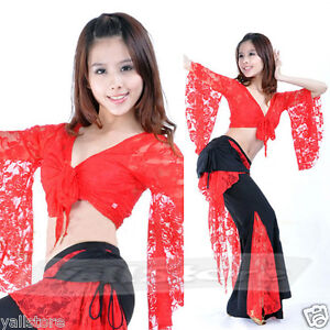 Sexy-Belly-Dance-Costume-Top-Pants-Lace-10-Colors-US-Seller