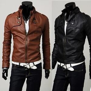NEW-Mens-Slim-Designed-Sexy-PU-Leather-Short-Jacket-Coat-rider-zip-zipper-style