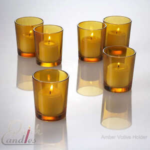 Lot of 12 Amber Glass Votive Candle Holders