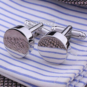 New Design Men`s Wedding Party Gift Smooth Round Cufflinks Silver Cuff Links