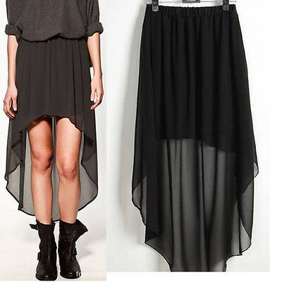 New Sexy Asym Hem Chiffon Skirt Women Dress Clothes Elastic Waist Maxi 3 Color O