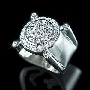 Mens Ladies 14K White Gold Fin Lab Diamond Hip Hop Wedding Engagement Ring Band