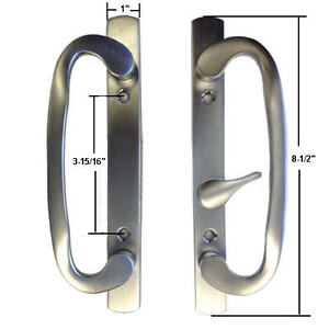 Sliding glass patio door handle set mortise type white ebay for Non sliding patio doors
