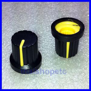 2-x-Knob-Black-with-Yellow-Mark-for-Potentiometer-Pot