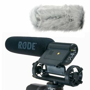 Rode-VIDEOMIC-Camera-Mounted-Shotgun-Microphone-w-Mount-and-Fuzzy-Windjammer-Kit