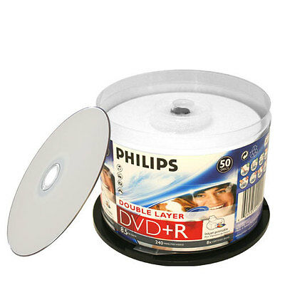 200 Philips 8x Dvd+r Dl Dual Layer White Inkjet Hub Print...