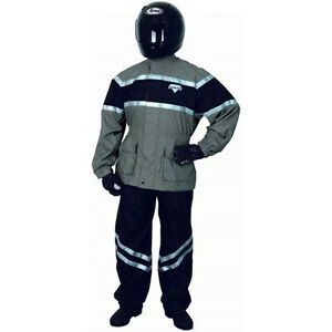 BLACK-Grey-RAIN-SUIT-2PC-ADULT-Small-Nelson-Rigg-Vented-MOTORCYCLE-FOUL-WEATHER