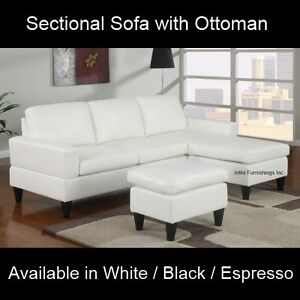 small faux leather sectional sofa couch furniture modern espresso black white. Black Bedroom Furniture Sets. Home Design Ideas