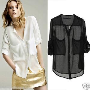 Women-Collarless-Button-front-See-through-Long-Sleeve-Chiffon-Shirts-Blouse-Tops