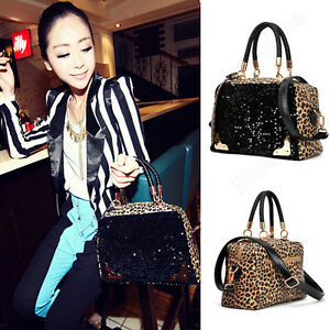 Womens-Club-Bling-Flashlight-Leopard-Sequin-Handbag-Shoulder-Bag-Totes