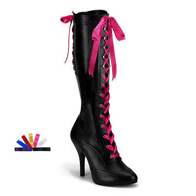 Pleaser Tempt 125 Bordello Burlesque Satin Lace Up Stiletto High Heel Knee Boots