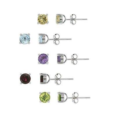 925 Silver 5.2ct Multi Color Gemstone 5mm Stud Earrings, Set of 5