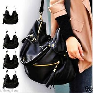 New-Lady-Korean-Hobo-PU-Tassel-Leather-Handbag-Shoulder-Bag-Large-Capacity-Z