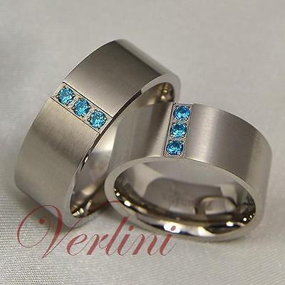 8mm Titanium Rings Wedding Bands Matching Set Blue Sapphi...