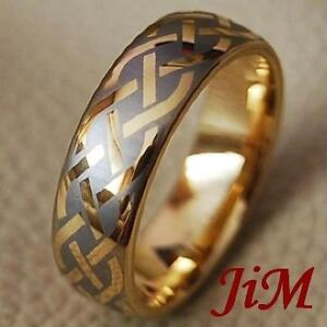 Mens-Tungsten-Carbide-Rings-Hot-Wedding-Bands-Size-14K-Gold-Size-6-13