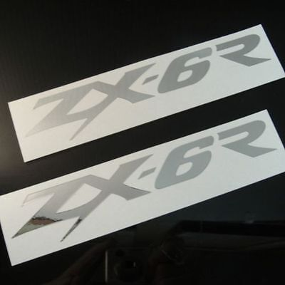 Chrome Zx6r Kawasaki Ninja Decals, Set Of 2 Zx6 Zx11 Zx9 Fairing Gas Tank Tail
