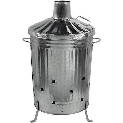 Garden Burning Fire Incinerator Galvanised 90 lt Burning Wood Leaves Rubbish Bin