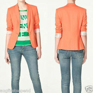 Candy-Color-Womens-One-Button-Lapel-Casual-Suits-Blazer-Jacket-Outerwear-Coats