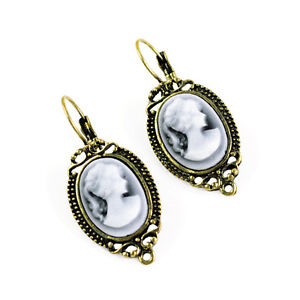 Girl Favorate Gift, Costume Jewelry Antique Bronze Cameo Hook Earring, ER-547