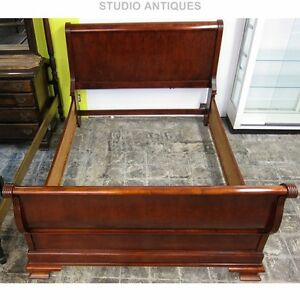 Cherry Sleigh Bed Vintage California Queen Elegant Bedroom Furniture Solid Wood Ebay