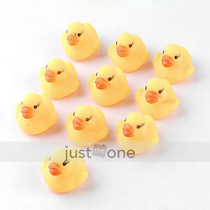 10 pcs Baby Kids Children Bath Toy Cute Rubber Race Squeaky Duck Ducky Yellow