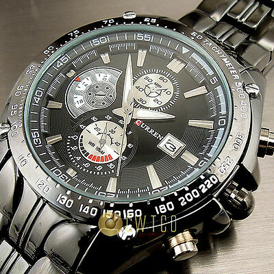 SPORT WATER QUARTZ HOURS DATE HAND LUXURY CLOCK MEN STEEL WRIST WATCH WT101
