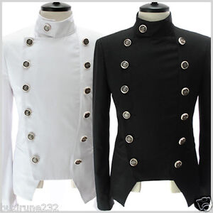 NJK4 THELEES Mens Casual Double Breasted Button Slim ...